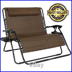 Folding 2 Person Lounge Chair Zero Gravity Outdoor Patio Camping Beach Trays