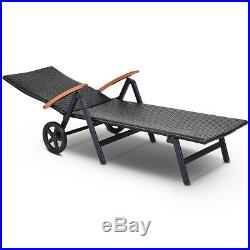 Folding Back Adjustable Aluminum Rattan Lounge Recliner Chair With Wheels Brown