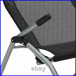 Folding Gravity Textoline Sun Lounger Armrest Rocking Recliner Garden Bed Deck