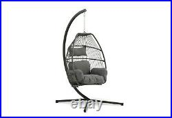 Folding Hanging Egg / Cocoon Chair Swing With Cushion & Stand- Single-grey