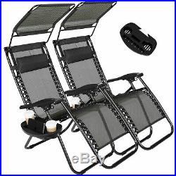 Folding Set of 2 Adjustable Zero Gravity Chairs Recliner Lounge Patio Pool Black