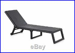 Folding Sun Lounger Rattan Style Garden Lounger Furniture Resin Adjustable Relax