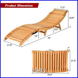 Folding Wooden Outdoor Lounge Chair Chaise with Red/White Cushion Pad Poolside