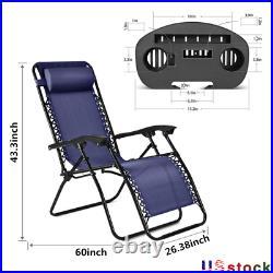 Folding Zero Gravity Reclining Lounge Chairs Outdoor Beach Patio Yard Garde 2PCS