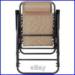 Folding Zero Gravity Rocking Chair Rocker Porch Outdoor Patio Headrest Beige