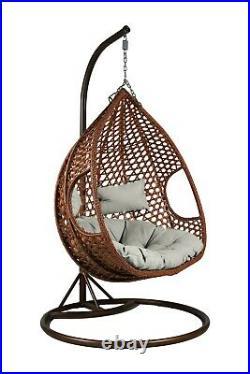 Fossano Rattan Swing Double Hanging Egg Chair Garden Indoor Outdoor Brown