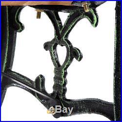 GOPLUS 49 1/2 Patio Park Garden Porch Chair Bench Cast Iron Hardwood Rose