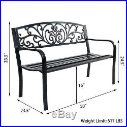 GOPLUS 50 Patio Park Garden Bench Porch Chair Steel Frame Cast Iron Backrest
