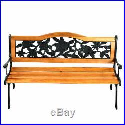 GOPLUS Patio Park Garden Bench Porch Path Chair Furniture Cast Iron Hardwood New