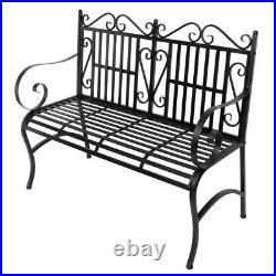 Garden Bench Metal Outdoor Patio Furniture Back Yard Iron Porch Seat Steel