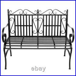Garden Bench Metal Outdoor Patio Furniture Deck Chair Back Yard Iron Porch Seat