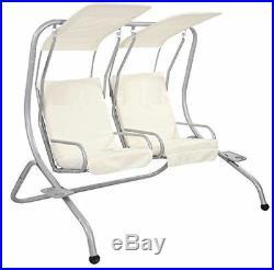 Garden Metal Swing Hammock Chair Bench Patio Outdoor Canopy Cushion 2 Seater