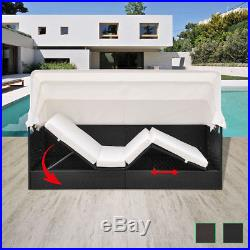 Garden Rattan Sun Lounger Sofa Bed Daybed Outdoor Black/Brown with Canopy Shade