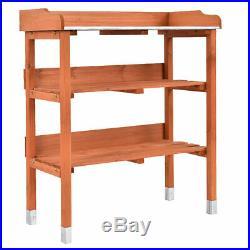 Garden Wooden Potting Bench Work Station Table Tool Storage Shelf WithHook