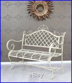 Gartenbank Shabby Chic Bank Metall Sitzbank Garten Eisenbank Weiss Parkbank