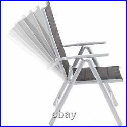Gartenstuhl Aluminium Hochlehner Alu klappbar verstellbar Grau Polsterung