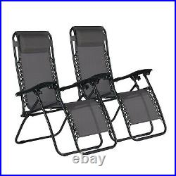 Gatarn 2x Zero Gravity Recliner Garden Deck Folding Chair Patio Sun Lounger Grey
