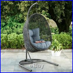 Giant Big Hanging Egg Chair With Stand And Pad Wicker Hammock Outdoor Swing Seat