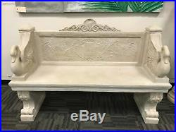 Giant Neoclassical Outdoor Vicenza Swan Garden Entry Bench Natural Stone Finish