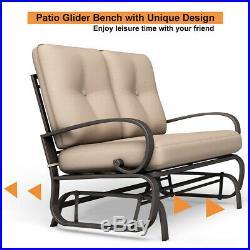 Glider Outdoor Patio Rocking Bench Loveseat Cushioned Seat Steel Frame Furniture