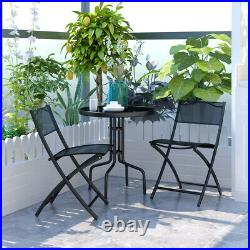 Goplus 3PCS Bistro Set Garden Backyard Table Folding Chairs Outdoor Furniture