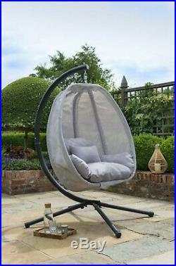 Grey Cocoon Hanging Egg Chair Swing Textilene Garden Furniture In Or Outdoor