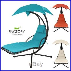 Hammock Chair Hanging Lounge Chaise Outdoor Patio Porch Canopy Beige/Blue/Orange