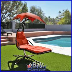Hammock Hanging Chair Lounge Chaise Outdoor Patio Canopy Sun Shade Orange