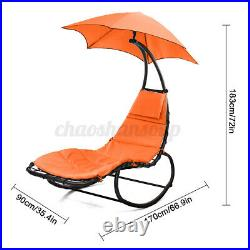 Hammock Hanging Chaise Lounger Chair with Stand Outdoor Patio Sun Shade Canopy