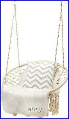 Hammock Swing Chair Hanging Rope Seat Net Chair Garden Macrame Swing Out/Indoor