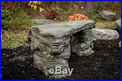Handmade Cast Stone Concrete Memorial Bench, CF-202 Petrified Rock Bench
