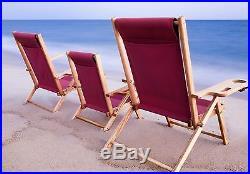 Handmade Nantucket Red Beach Chair oak wood and canvas