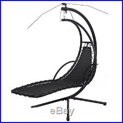 Hanging Chaise Lounge Chair Arc Stand Air Porch Swing Hammock Canopy Orange