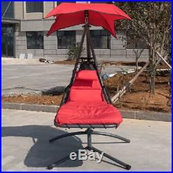 Hanging Chaise Lounge Hammock Chair Swing With Arc Stand Canopy Cushion Red