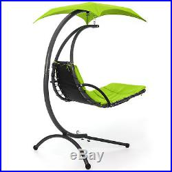 Hanging Chaise Lounger Chair Arc Stand Air Porch Swing Hammock Canopy (Green)