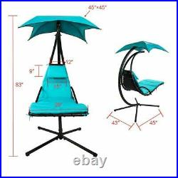 Hanging Chaise Lounger Chair Arc Stand Porch Patio Swing Hammock Chair Canopy