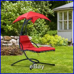 Hanging Chaise Lounger Chair Arc Stand Porch Swing Hammock Canopy Cushion Red