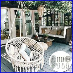 Hanging Cotton Rope Macrame Hammock Chair Swing Outdoor Garden+ Set Metal