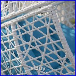 Hanging Egg Chair Resin Wicker White Blue Cushion Patio Furniture Front Porch