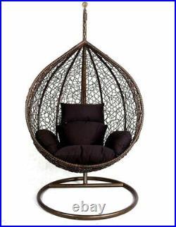 Hanging Egg Chair Swing Hammock Cushion Rattan Wicker Indoor Outdoor Brown
