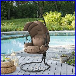 Hanging Egg Chair Swing Lounge Chair Canopy Cover UV Resistant with Stand, Brown