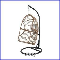 Hanging Egg Swing Chair Garden Patio Rattan Indoor Outdoor Cocoon with Cushion