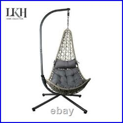 Hanging Rattan Egg Chair with Metal Frame Stand for Indoor Outdoor Garden Use