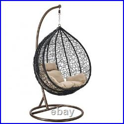 Hanging Rattan Swing Patio Garden Chair Weave Egg with Cushion In Outdoor Indoor
