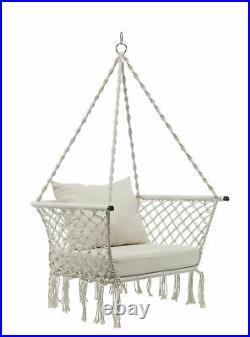 Hanging Rope Chair Swing Hammock Outdoor Porch Patio Yard Seat with Cushion Seat