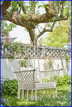 Hanging Rope Hammock Chair Swing Outdoor Porch Patio Yard Seat with Cushion Seat