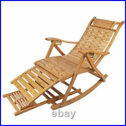 Heavy Duty Bamboo Rocking Chair Adjustable Lounge Recliner Leisure Living Room