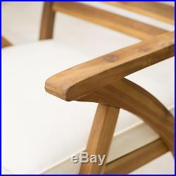 Helen Outdoor Teak Finish Acacia Wood Arm Chair (Set of 2)