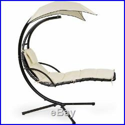 Helicopter Swing Hammock Chair Patio Hanging Lounger Cushion Chair with Stand