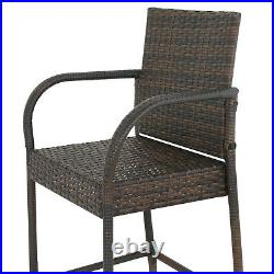 Indooor Outdoor Set of 4 Wicker Barstool Patio Bar Stools Brown Backyard Patio